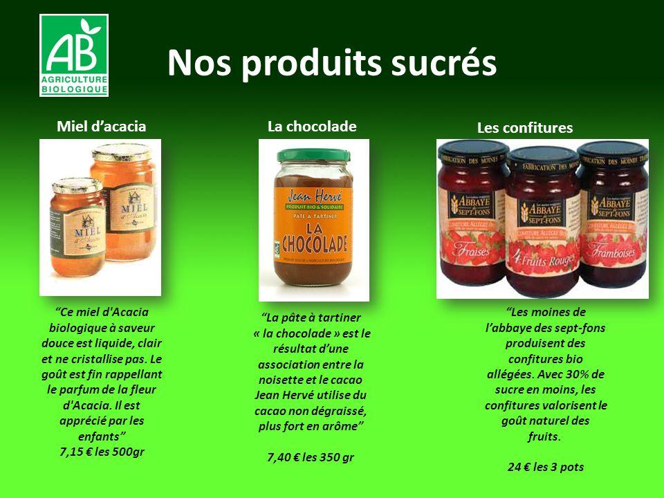 Nos produits sucrés Miel dacacia La chocolade Les confitures Ce miel d'Acacia biologique à saveur douce est liquide, clair et ne cristallise pas. Le g