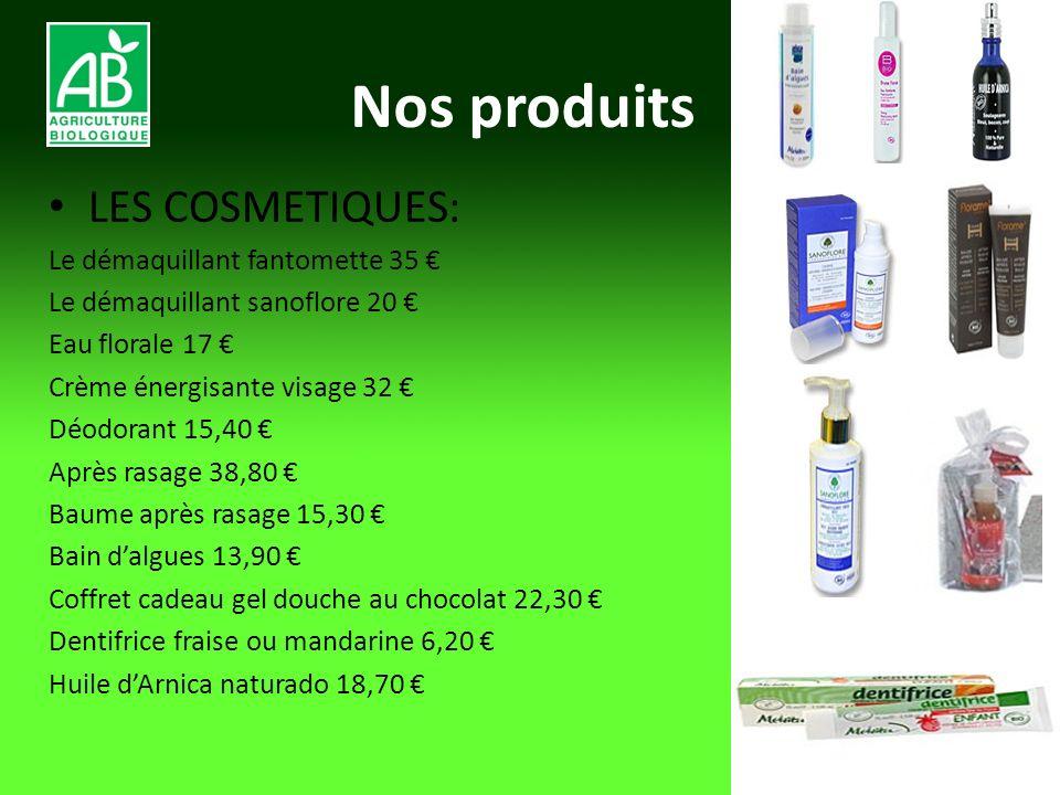 Nos produits LES COSMETIQUES: Le démaquillant fantomette 35 Le démaquillant sanoflore 20 Eau florale 17 Crème énergisante visage 32 Déodorant 15,40 Ap