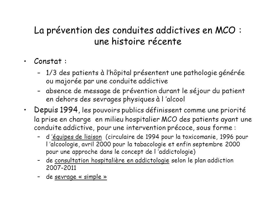 La prévention des conduites addictives en MCO : une histoire récente Constat : –1/3 des patients à lhôpital présentent une pathologie générée ou major