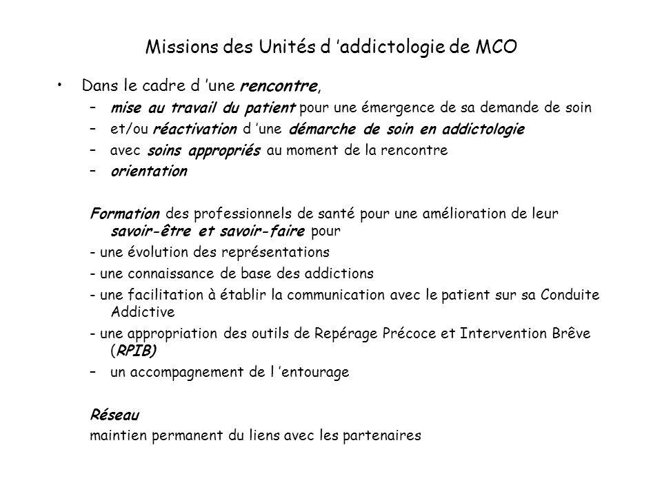 Missions des Unités d addictologie de MCO Dans le cadre d une rencontre, –mise au travail du patient pour une émergence de sa demande de soin –et/ou r