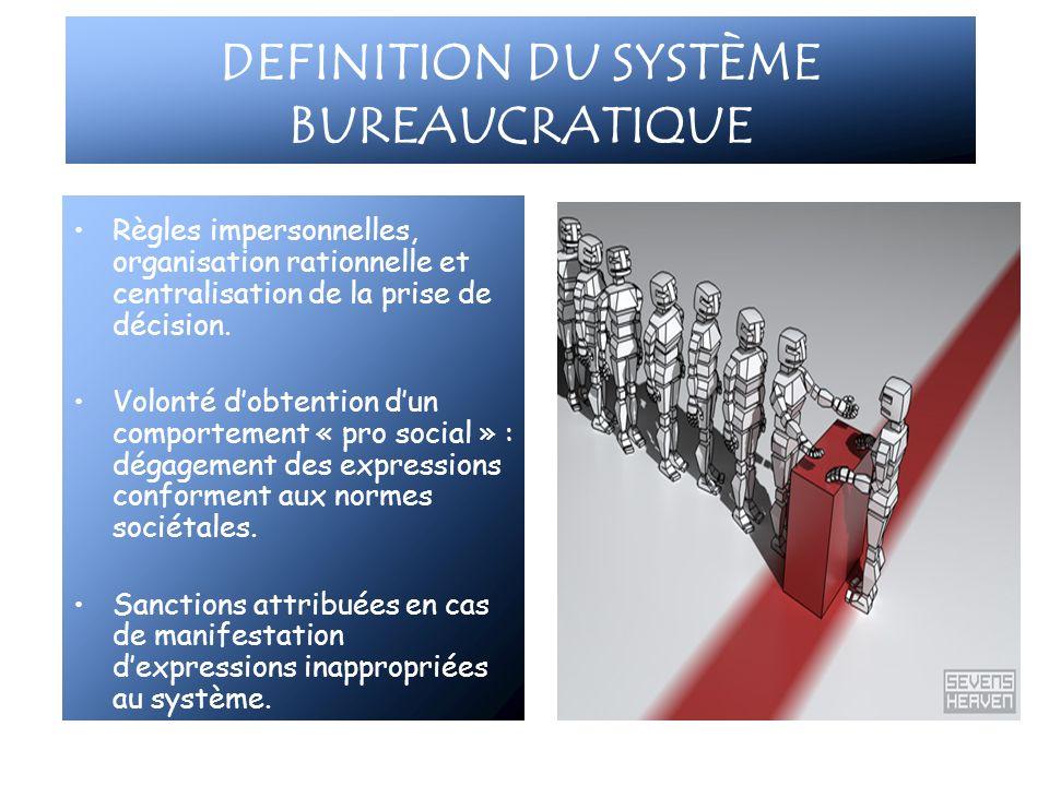 DEFINITION DU SYSTÈME BUREAUCRATIQUE Règles impersonnelles, organisation rationnelle et centralisation de la prise de décision. Volonté dobtention dun
