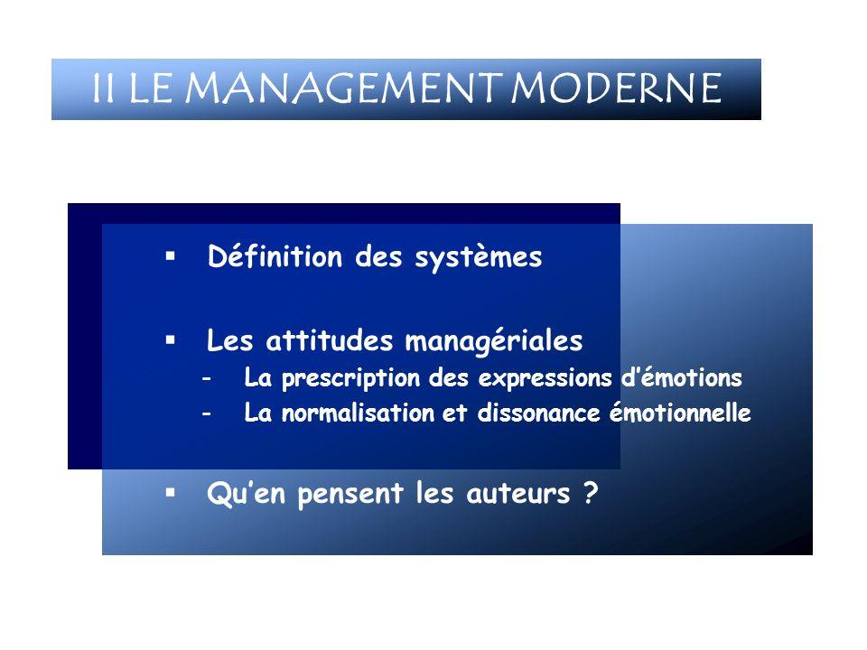 Définition des systèmes Les attitudes managériales -La prescription des expressions démotions -La normalisation et dissonance émotionnelle Quen pensen