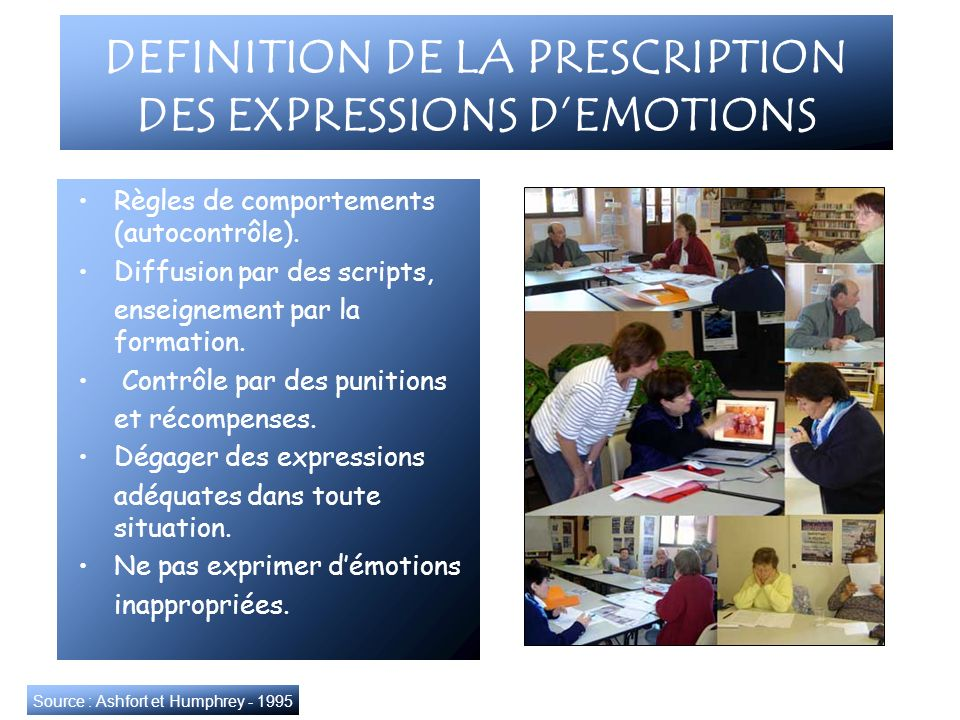 DEFINITION DE LA PRESCRIPTION DES EXPRESSIONS DEMOTIONS Règles de comportements (autocontrôle). Diffusion par des scripts, enseignement par la formati