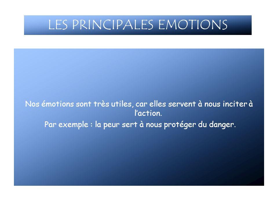 Nos émotions sont très utiles, car elles servent à nous inciter à laction. Par exemple : la peur sert à nous protéger du danger. LES PRINCIPALES EMOTI