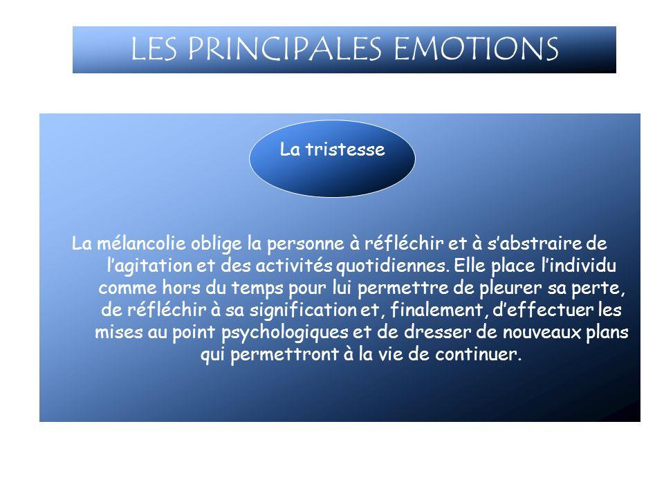 LES PRINCIPALES EMOTIONS La mélancolie oblige la personne à réfléchir et à sabstraire de lagitation et des activités quotidiennes. Elle place lindivid
