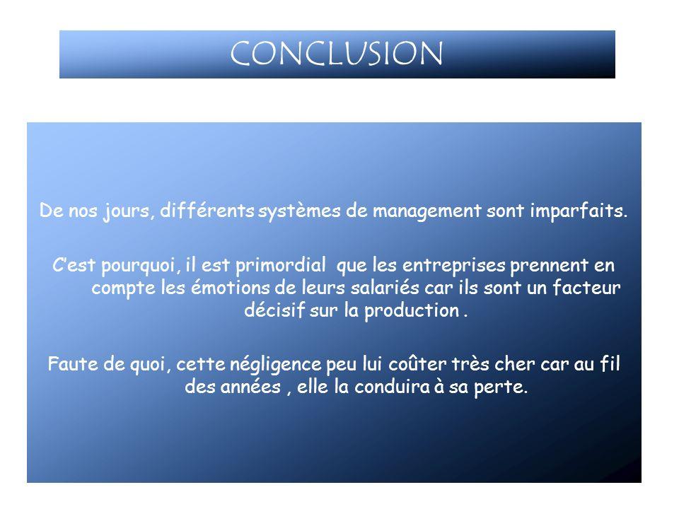 CONCLUSION De nos jours, différents systèmes de management sont imparfaits. Cest pourquoi, il est primordial que les entreprises prennent en compte le