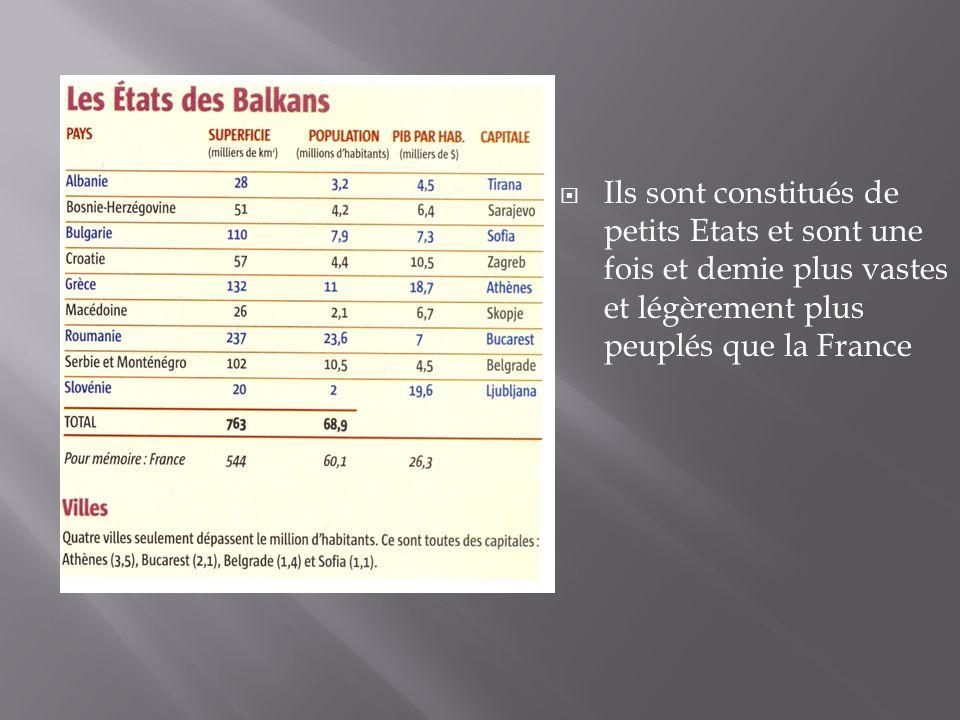 Ils sont constitués de petits Etats et sont une fois et demie plus vastes et légèrement plus peuplés que la France