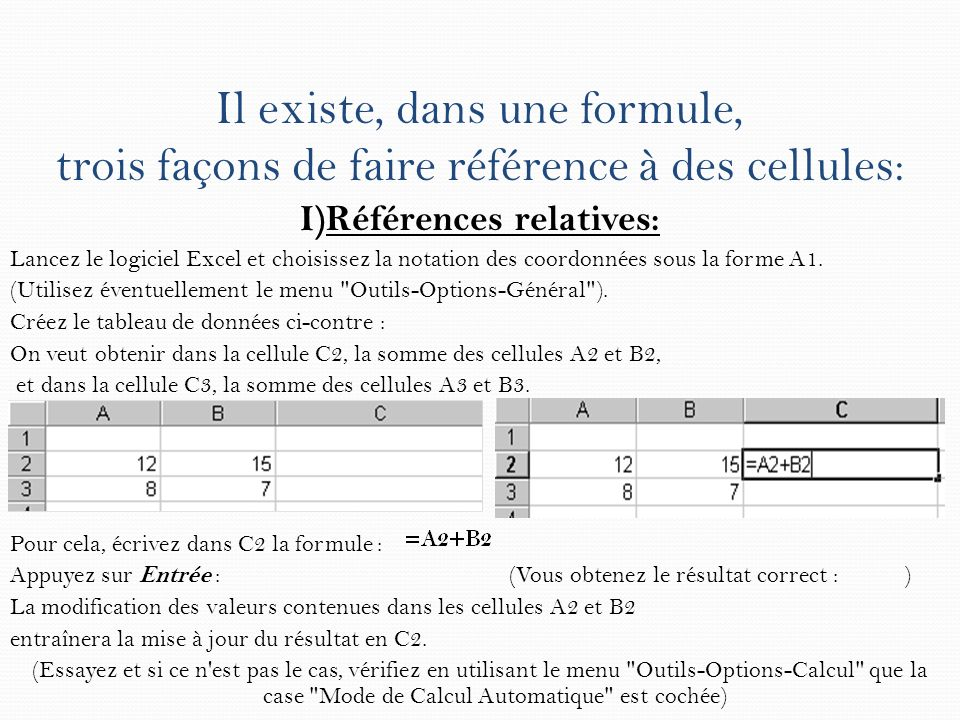 Il existe, dans une formule, trois façons de faire référence à des cellules: I)Références relatives: Lancez le logiciel Excel et choisissez la notatio