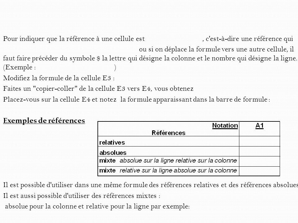 III) Référence nominale C est un troisième type de référence qui est en fait une référence absolue.
