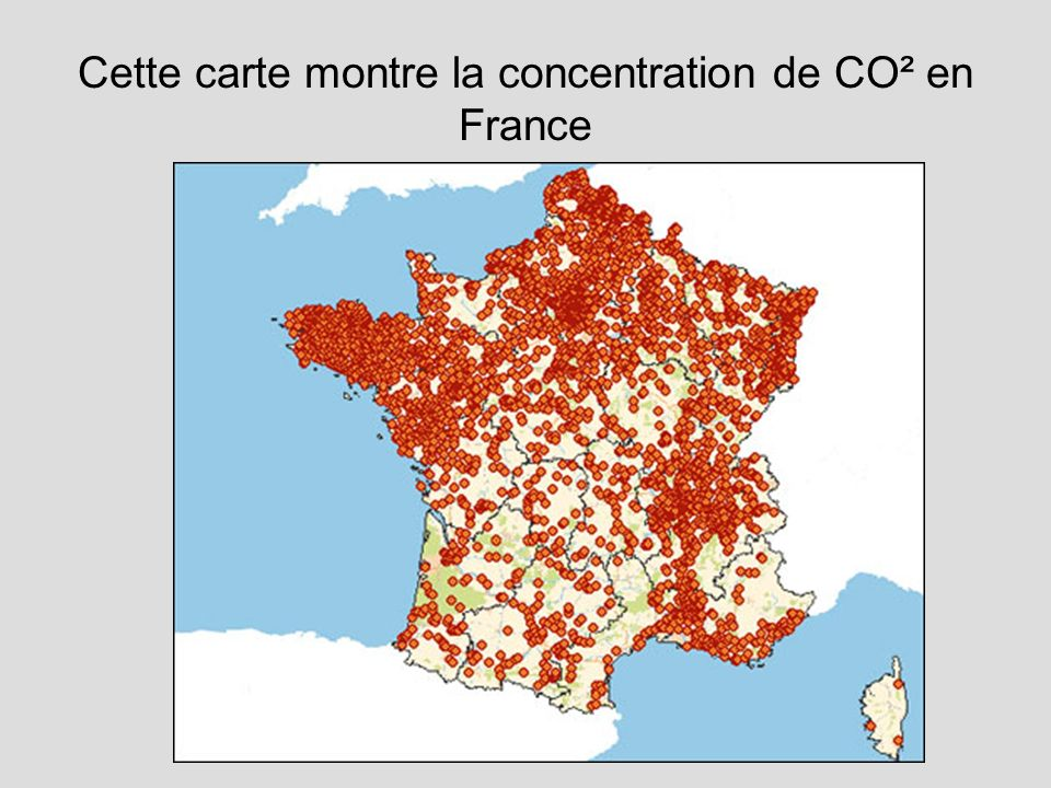 Cette carte montre la concentration de CO² en France