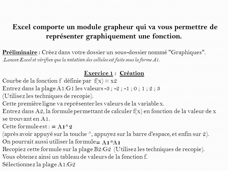 Excel comporte un module grapheur qui va vous permettre de représenter graphiquement une fonction. Préliminaire : Créez dans votre dossier un sous-dos