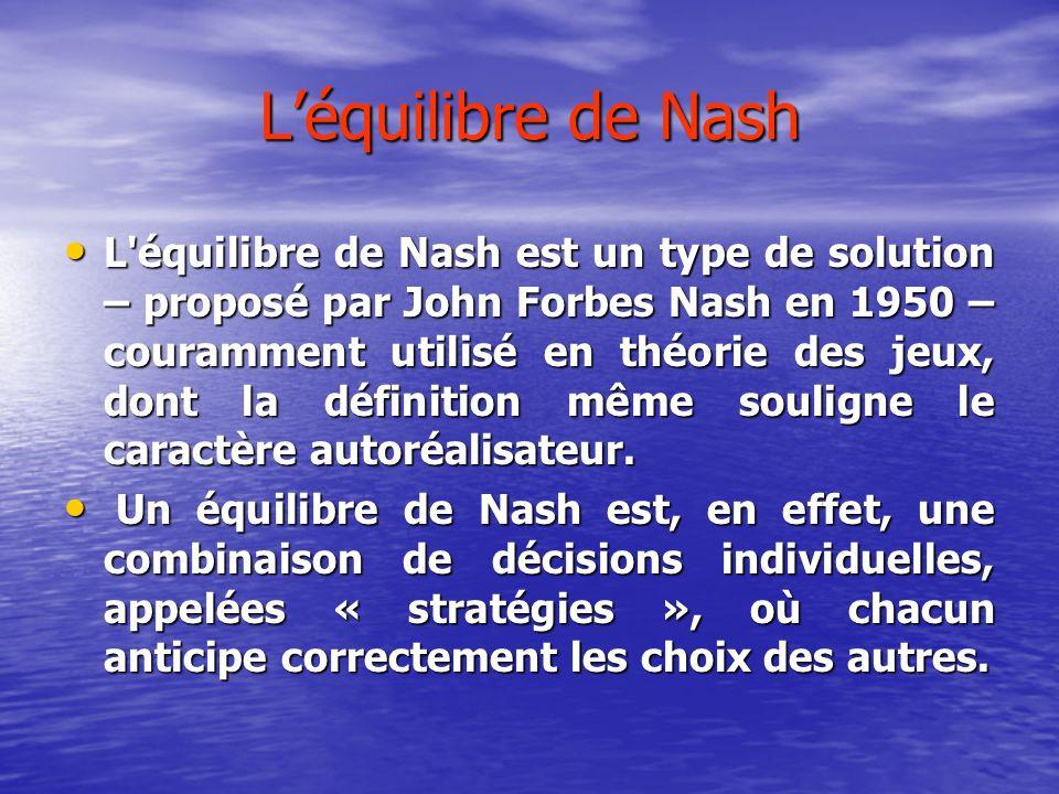 Léquilibre de Nash L équilibre de Nash est un type de solution – proposé par John Forbes Nash en 1950 – couramment utilisé en théorie des jeux, dont la définition même souligne le caractère autoréalisateur.