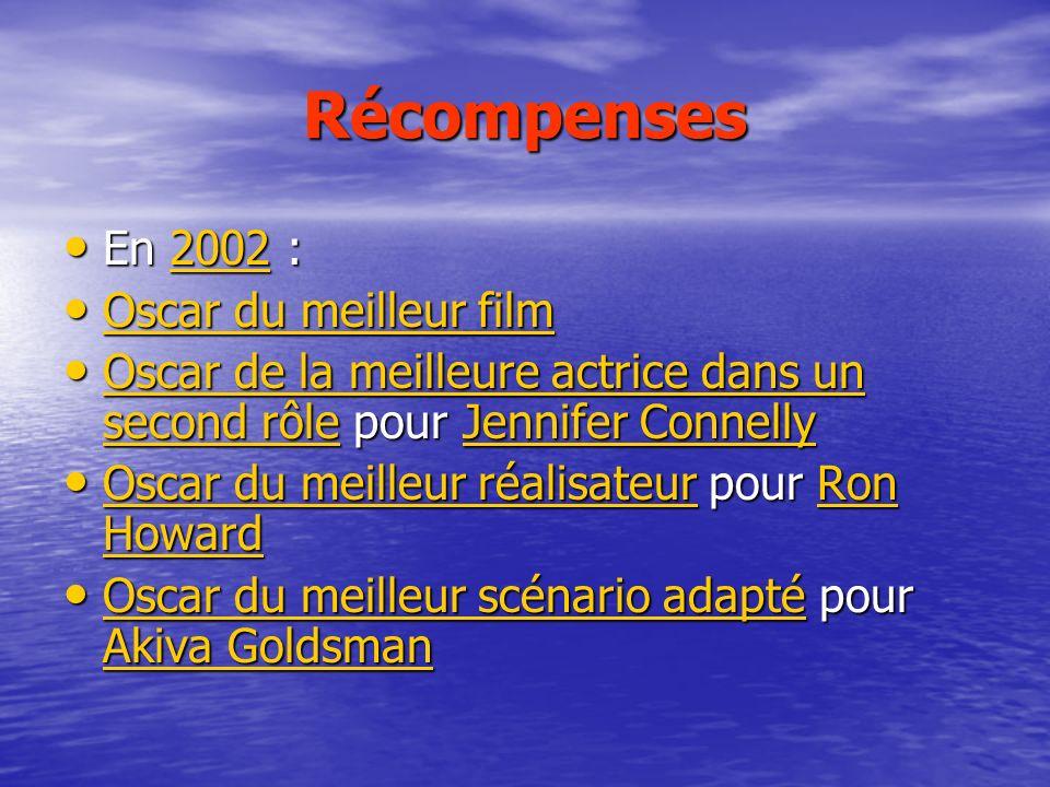 Récompenses En 2002 : En 2002 :2002 Oscar du meilleur film Oscar du meilleur film Oscar du meilleur film Oscar du meilleur film Oscar de la meilleure
