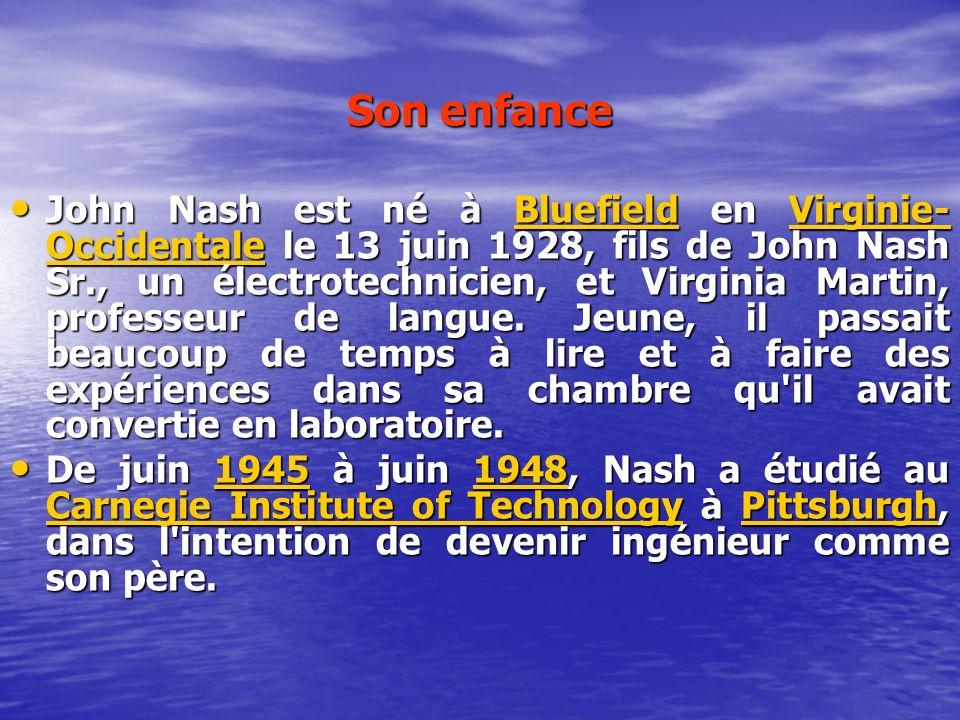 Son enfance John Nash est né à Bluefield en Virginie- Occidentale le 13 juin 1928, fils de John Nash Sr., un électrotechnicien, et Virginia Martin, pr