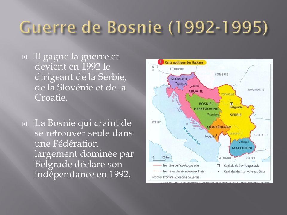 Il gagne la guerre et devient en 1992 le dirigeant de la Serbie, de la Slovénie et de la Croatie.