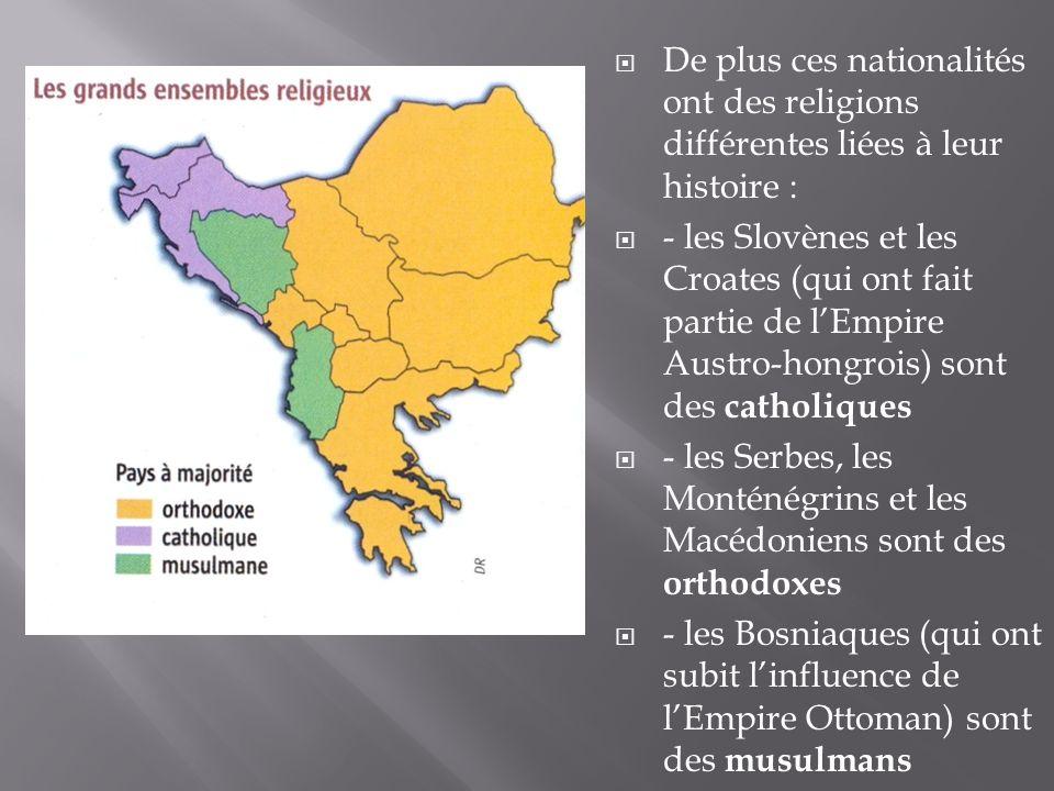 Pour calmer la situation, le dirigeant de la Yougoslavie en 1946 (Tito) décide de créer un Etat Fédéral constitué de 6 Républiques (Slovénie, Croatie, Bosnie-Herzégovine, Serbie, Monténégro et Macédoine) et de 2 régions autonomes (Voïvodine et Kosovo).