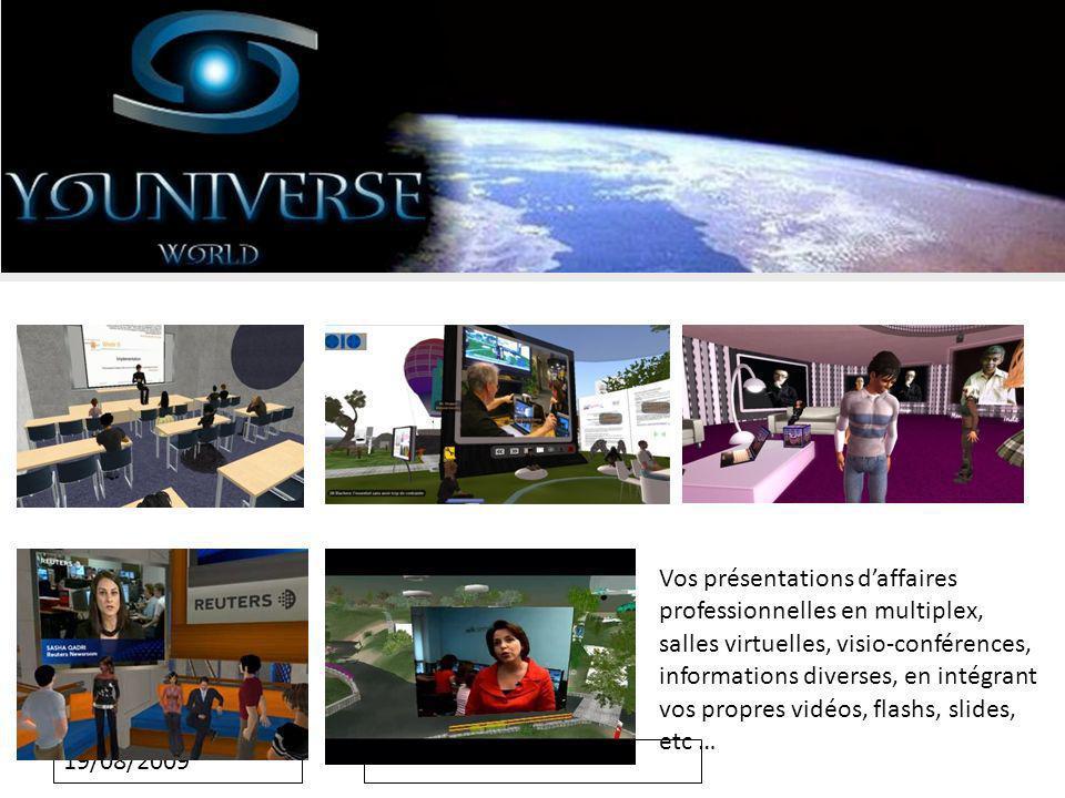 19/08/2009 Vos présentations daffaires professionnelles en multiplex, salles virtuelles, visio-conférences, informations diverses, en intégrant vos propres vidéos, flashs, slides, etc …