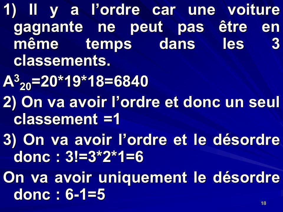 18 1) Il y a lordre car une voiture gagnante ne peut pas être en même temps dans les 3 classements.