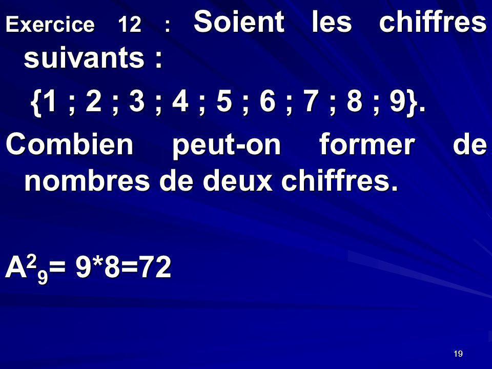 19 Exercice 12 : Soient les chiffres suivants : {1 ; 2 ; 3 ; 4 ; 5 ; 6 ; 7 ; 8 ; 9}.