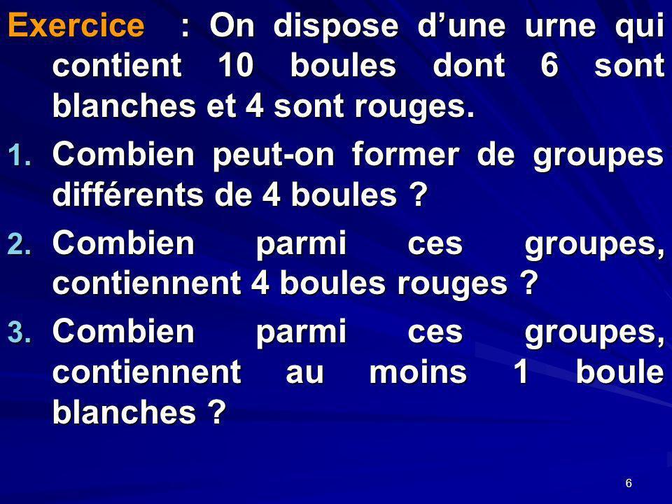 6 Exercice : On dispose dune urne qui contient 10 boules dont 6 sont blanches et 4 sont rouges.