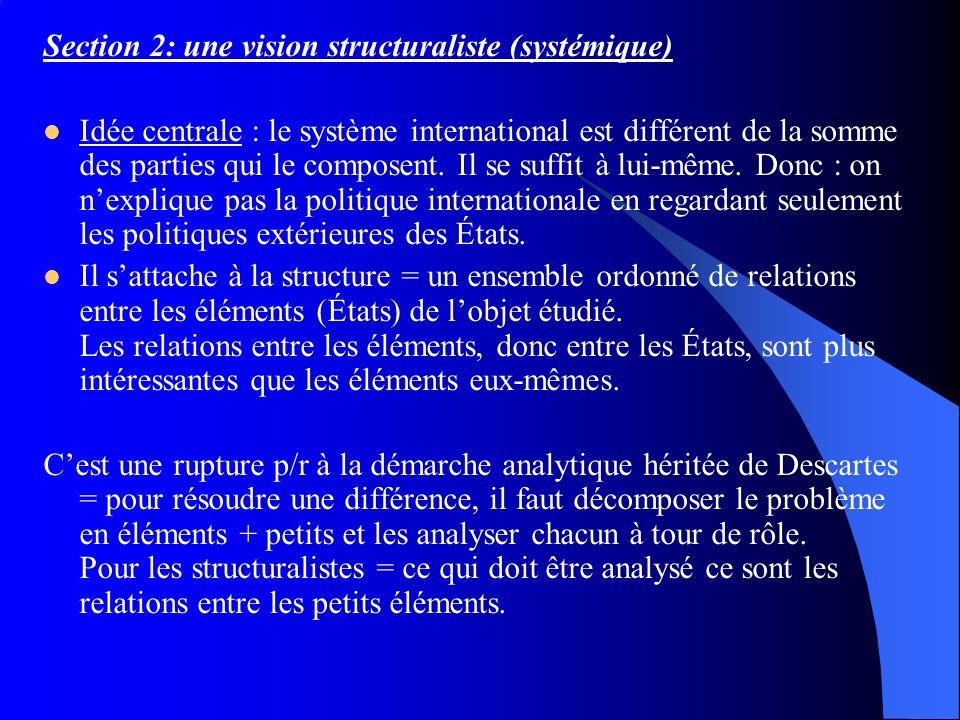 Section 2: une vision structuraliste (systémique) Idée centrale : le système international est différent de la somme des parties qui le composent. Il