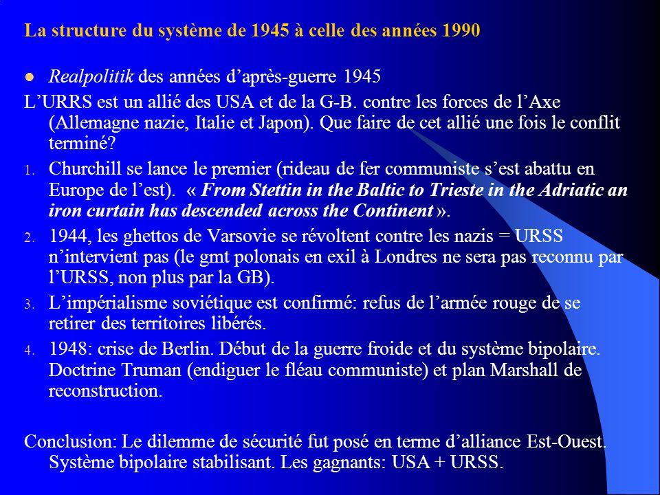 La structure du système de 1945 à celle des années 1990 Realpolitik des années daprès-guerre 1945 LURRS est un allié des USA et de la G-B. contre les