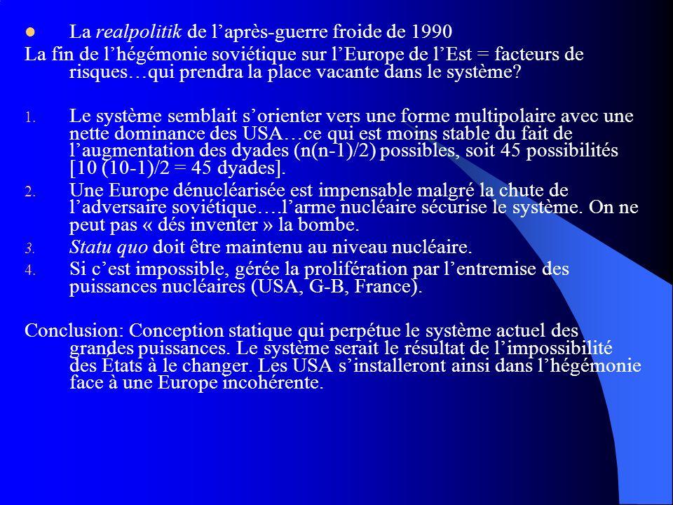 La realpolitik de laprès-guerre froide de 1990 La fin de lhégémonie soviétique sur lEurope de lEst = facteurs de risques…qui prendra la place vacante