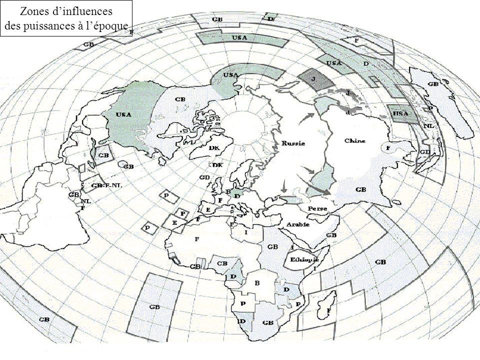 Zones dinfluences des puissances à lépoque