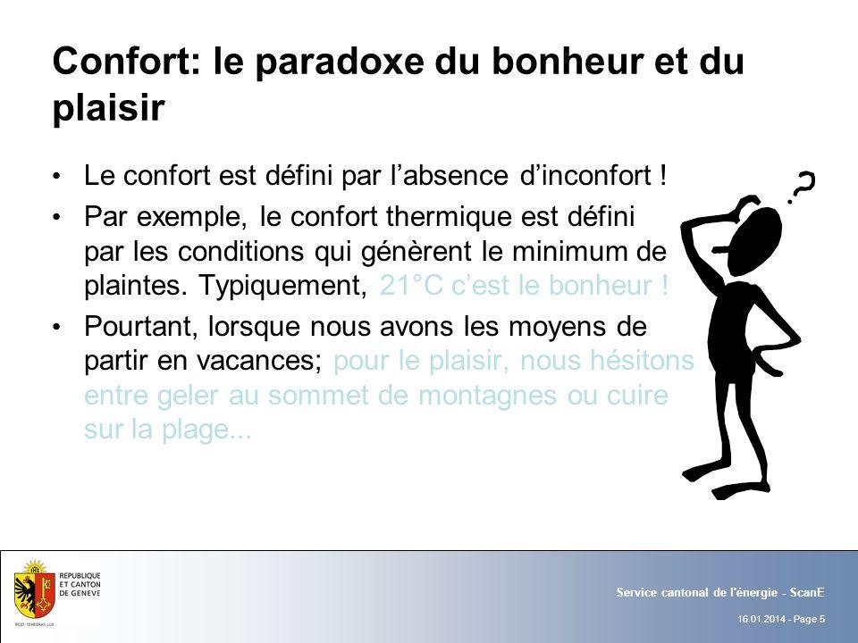 16.01.2014 - Page 5 Service cantonal de l énergie - ScanE Confort: le paradoxe du bonheur et du plaisir Le confort est défini par labsence dinconfort .