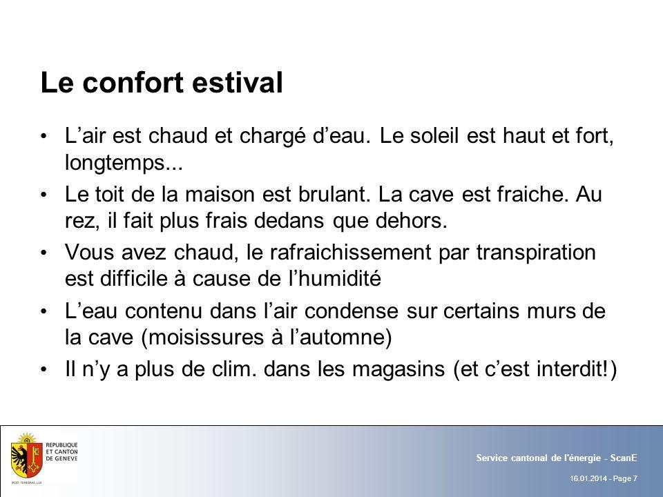 16.01.2014 - Page 7 Service cantonal de l énergie - ScanE Le confort estival Lair est chaud et chargé deau.