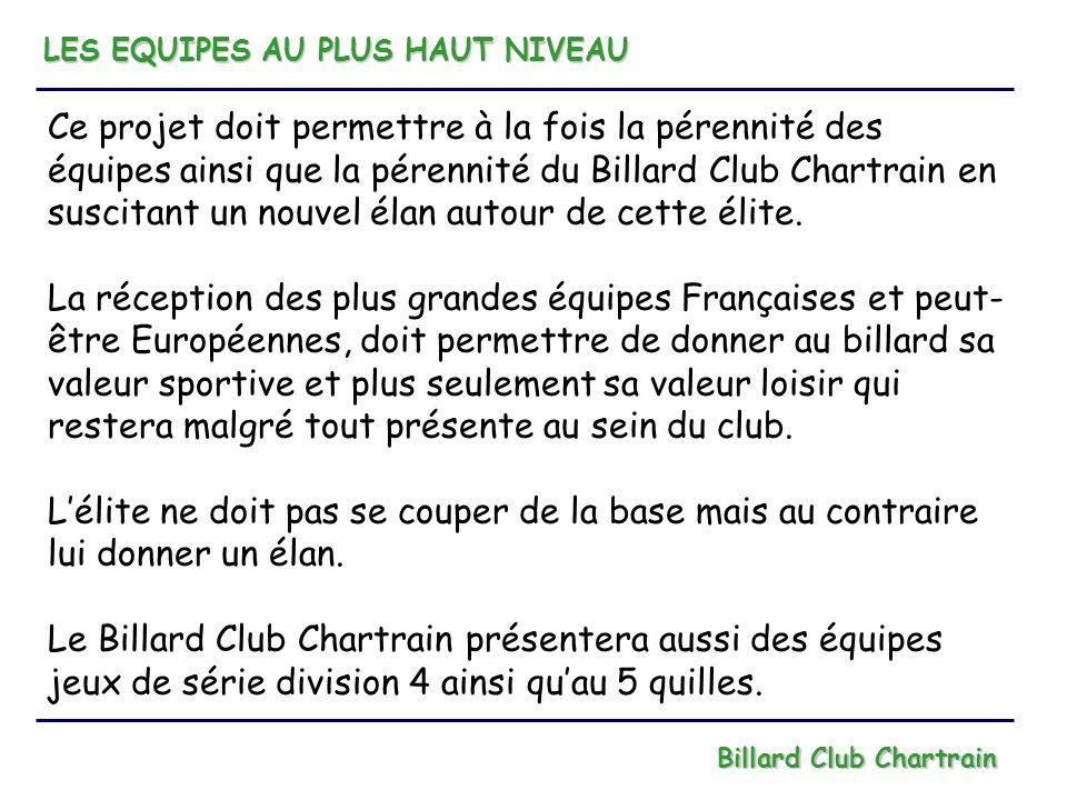 LES EQUIPES AU PLUS HAUT NIVEAU Billard Club Chartrain Ce projet doit permettre à la fois la pérennité des équipes ainsi que la pérennité du Billard C