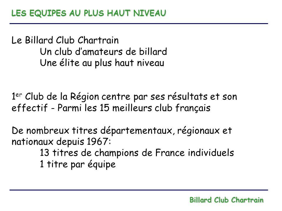 LES EQUIPES AU PLUS HAUT NIVEAU Billard Club Chartrain Le Club de Chartres est aujourdhui encouragé par les résultats individuels de ses membres tel que Willy Gérimont actuellement 5 ème joueur Français, pour : - créer une équipe de Division 1 aux jeux de série - renforcer léquipe de Division 2 aux 3 bandes