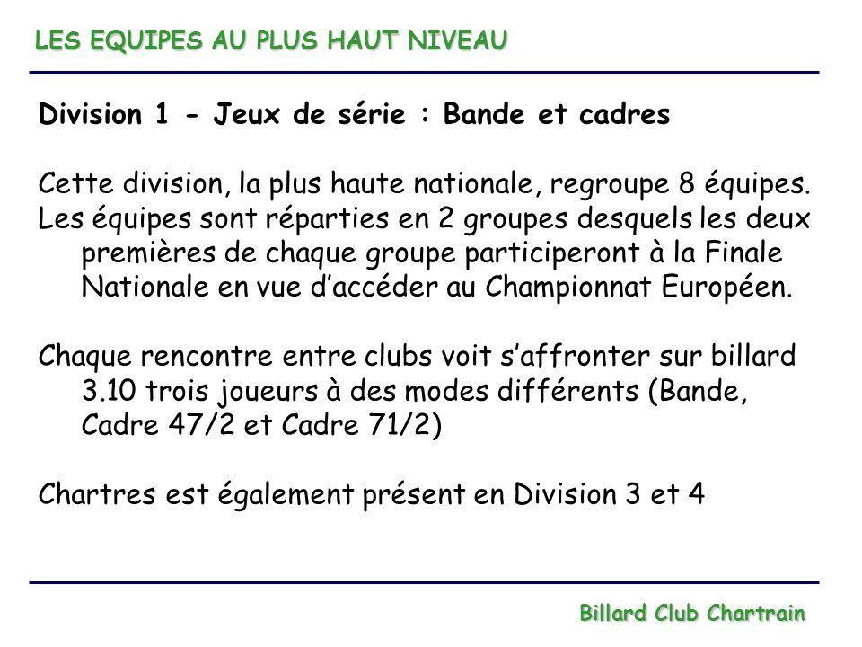 LES EQUIPES AU PLUS HAUT NIVEAU Billard Club Chartrain Division 1 - Jeux de série : Bande et cadres Cette division, la plus haute nationale, regroupe