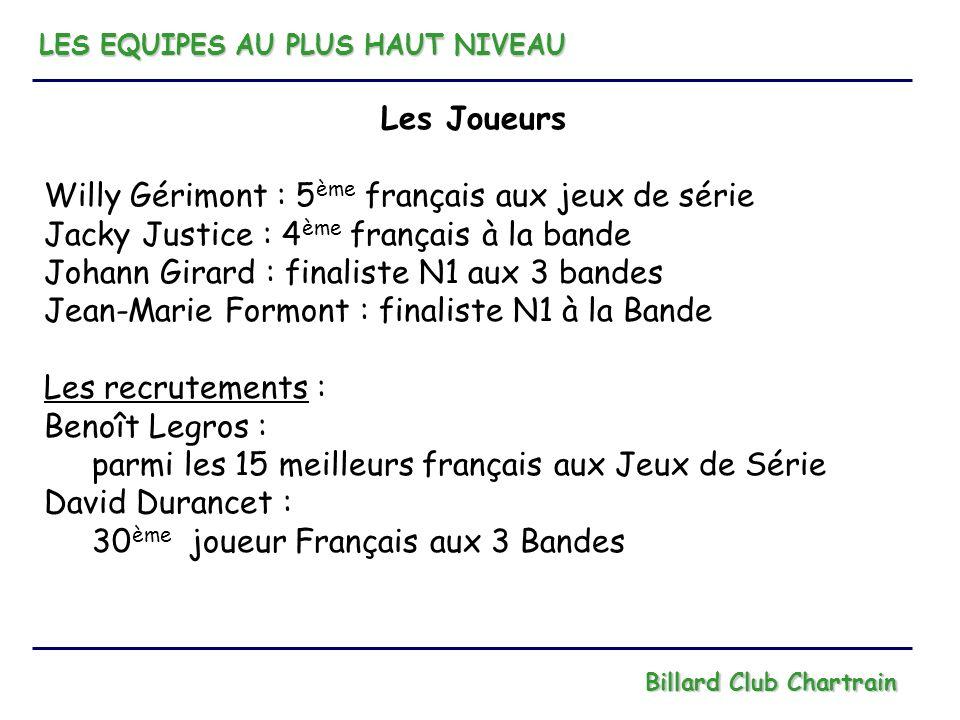 LES EQUIPES AU PLUS HAUT NIVEAU Billard Club Chartrain Les Joueurs Willy Gérimont : 5 ème français aux jeux de série Jacky Justice : 4 ème français à