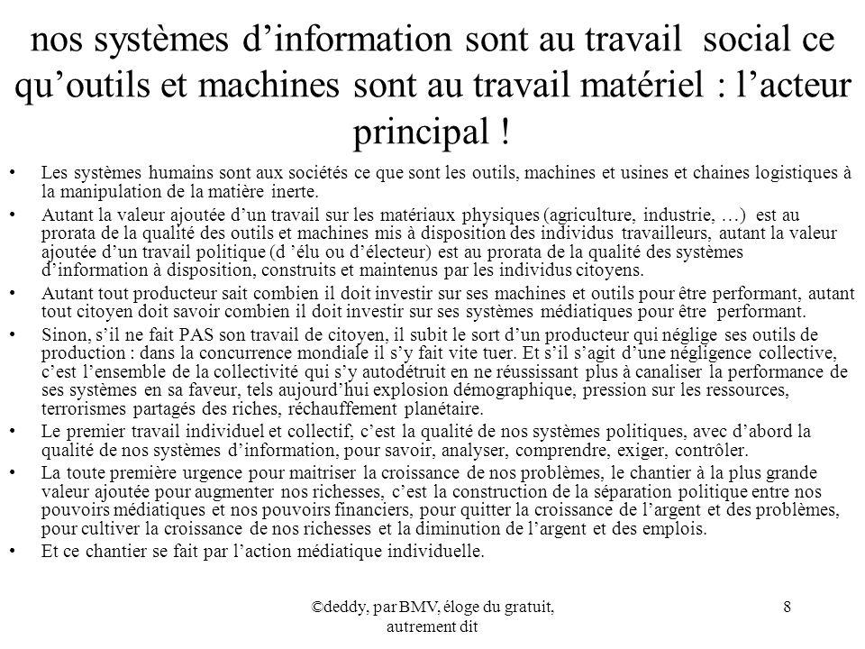 ©deddy, par BMV, éloge du gratuit, autrement dit 8 nos systèmes dinformation sont au travail social ce quoutils et machines sont au travail matériel :