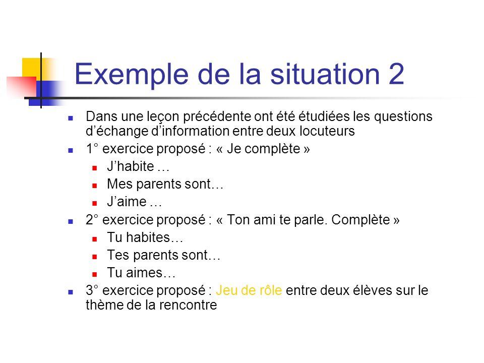 Exemple de la situation 2 Dans une leçon précédente ont été étudiées les questions déchange dinformation entre deux locuteurs 1° exercice proposé : «