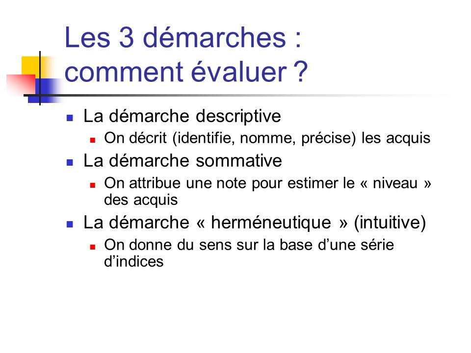 Les 3 démarches : comment évaluer ? La démarche descriptive On décrit (identifie, nomme, précise) les acquis La démarche sommative On attribue une not