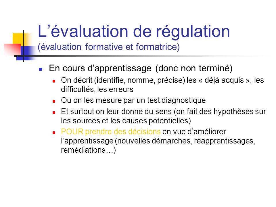 Lévaluation de régulation (évaluation formative et formatrice) En cours dapprentissage (donc non terminé) On décrit (identifie, nomme, précise) les «