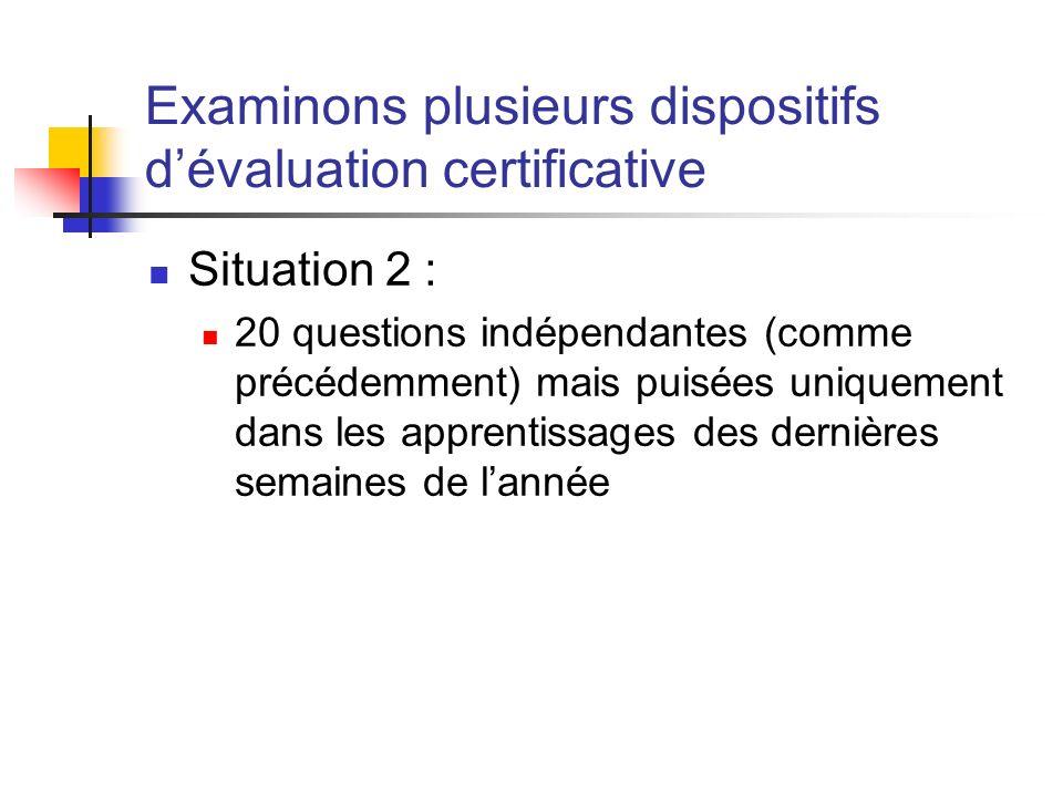 Examinons plusieurs dispositifs dévaluation certificative Situation 2 : 20 questions indépendantes (comme précédemment) mais puisées uniquement dans les apprentissages des dernières semaines de lannée