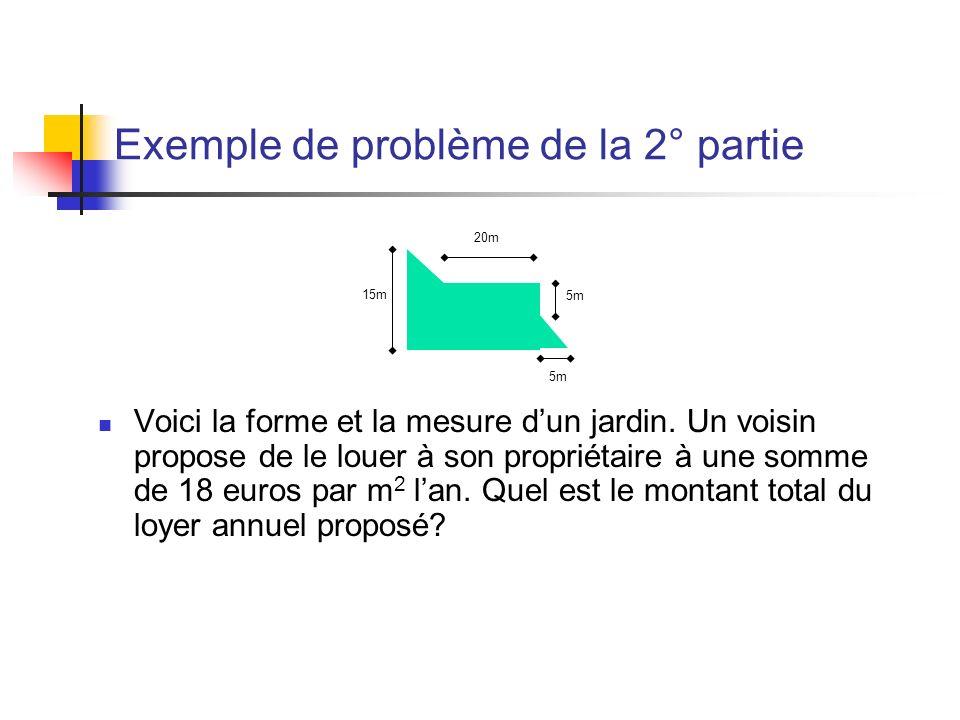 Exemple de problème de la 2° partie Voici la forme et la mesure dun jardin. Un voisin propose de le louer à son propriétaire à une somme de 18 euros p