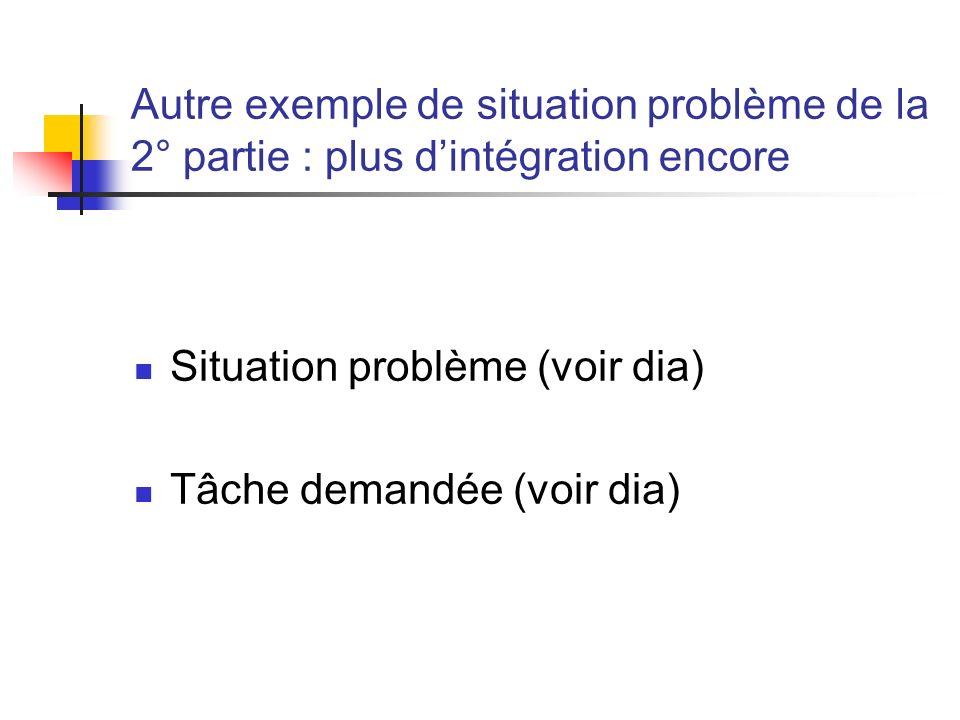Autre exemple de situation problème de la 2° partie : plus dintégration encore Situation problème (voir dia) Tâche demandée (voir dia)