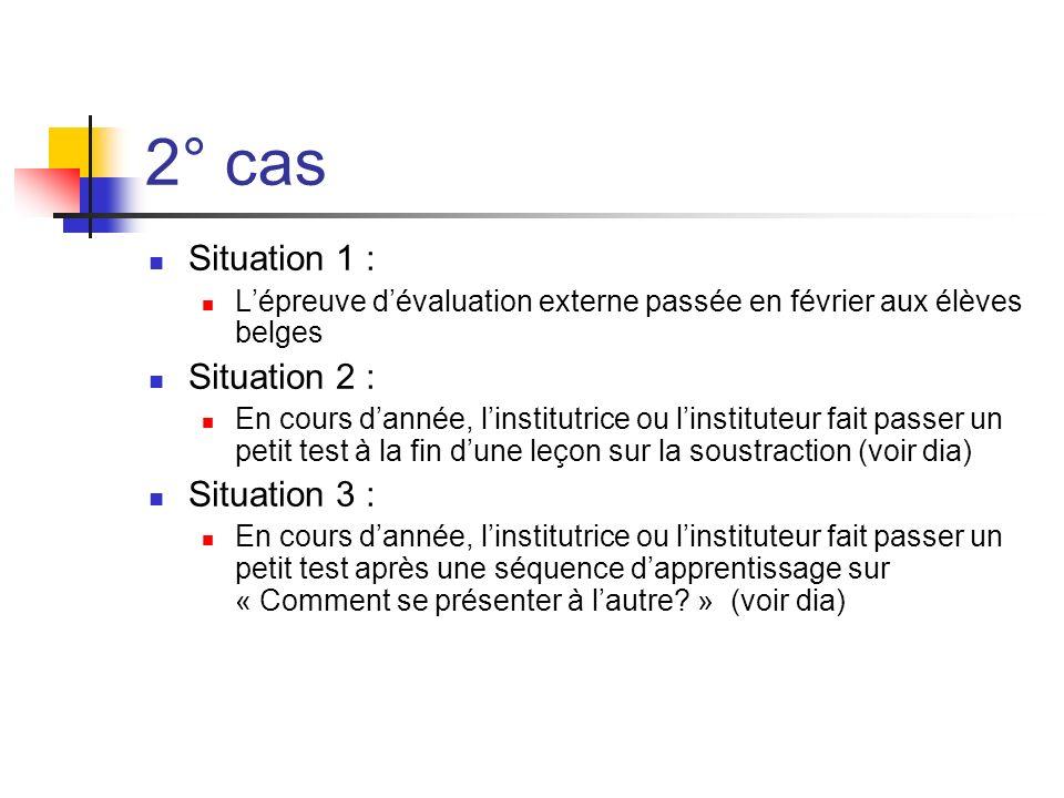 2° cas Situation 1 : Lépreuve dévaluation externe passée en février aux élèves belges Situation 2 : En cours dannée, linstitutrice ou linstituteur fai