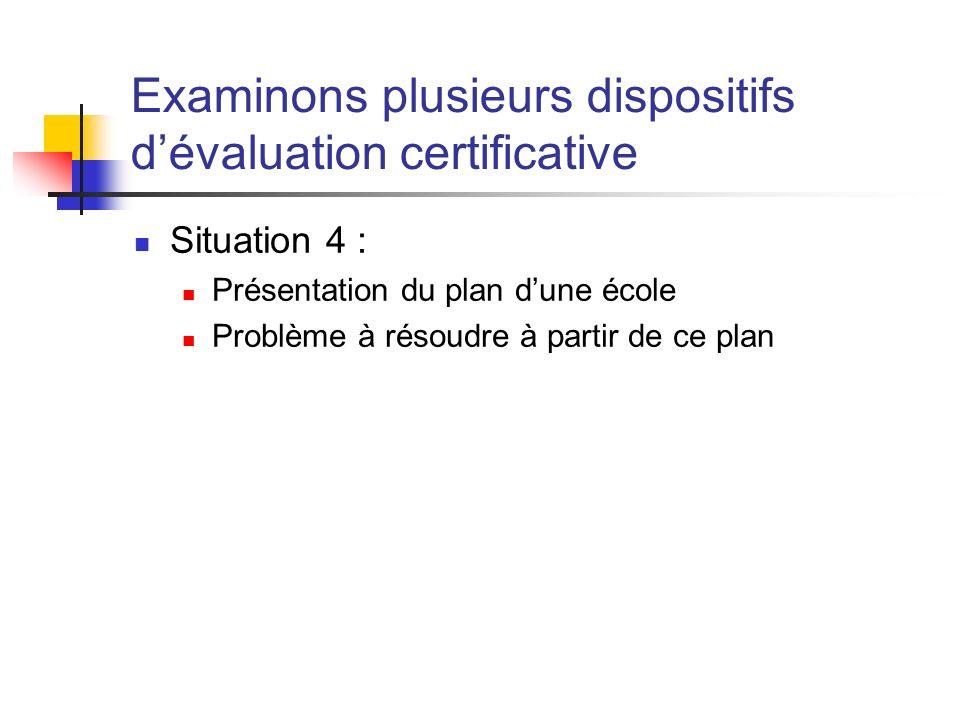 Examinons plusieurs dispositifs dévaluation certificative Situation 4 : Présentation du plan dune école Problème à résoudre à partir de ce plan
