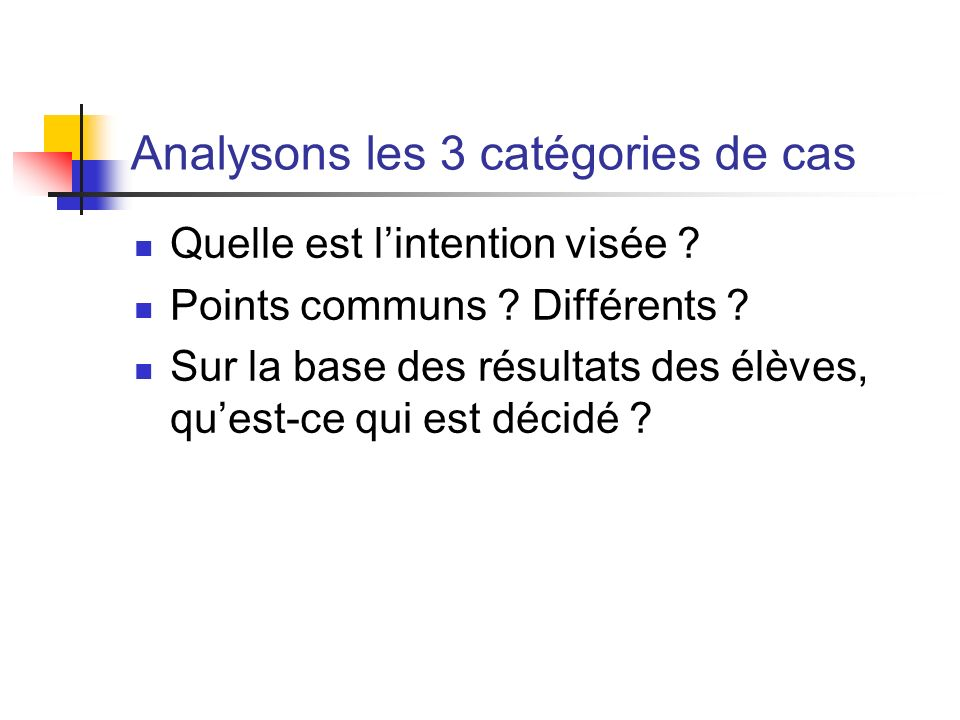 Analysons les 3 catégories de cas Quelle est lintention visée ? Points communs ? Différents ? Sur la base des résultats des élèves, quest-ce qui est d