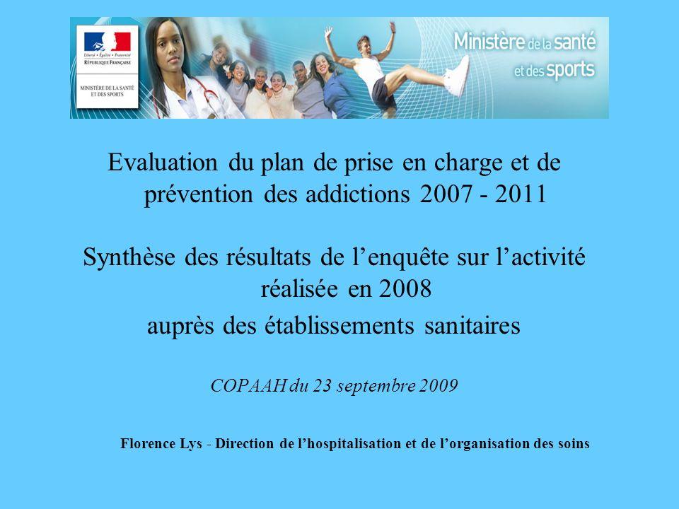 Evaluation du plan de prise en charge et de prévention des addictions 2007 - 2011 Synthèse des résultats de lenquête sur lactivité réalisée en 2008 au