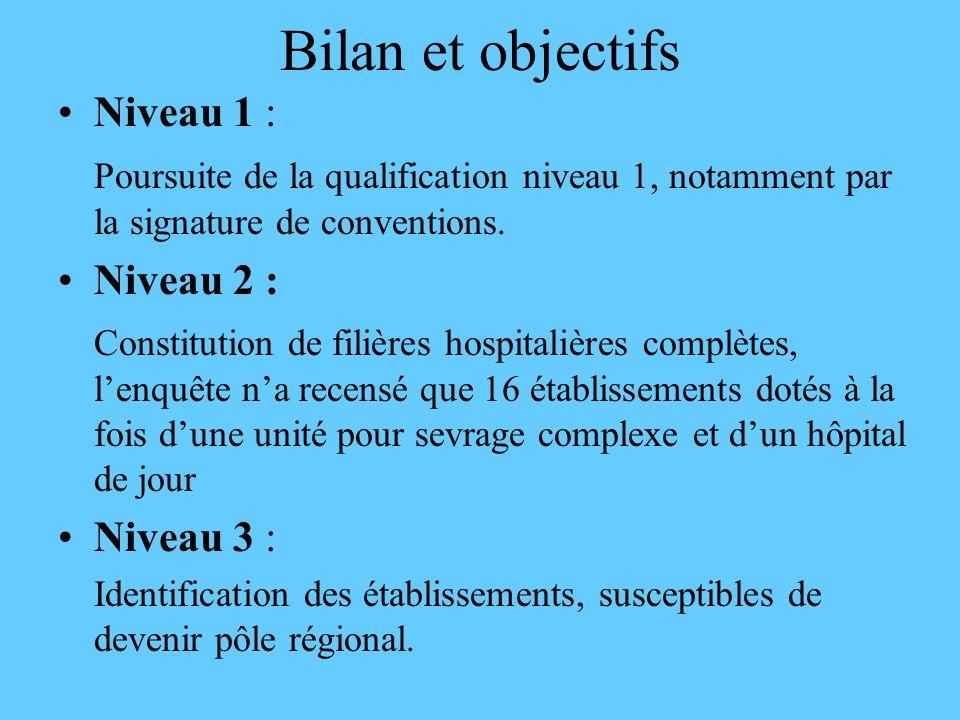 Bilan et objectifs Niveau 1 : Poursuite de la qualification niveau 1, notamment par la signature de conventions. Niveau 2 : Constitution de filières h