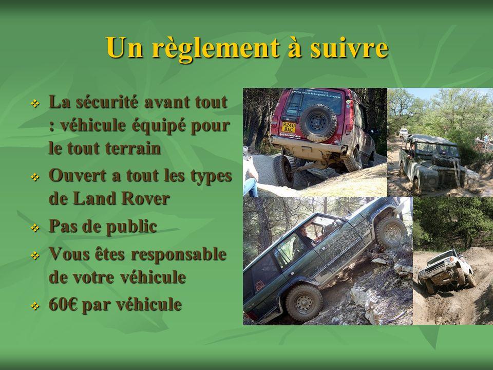 Un règlement à suivre La sécurité avant tout : véhicule équipé pour le tout terrain La sécurité avant tout : véhicule équipé pour le tout terrain Ouve