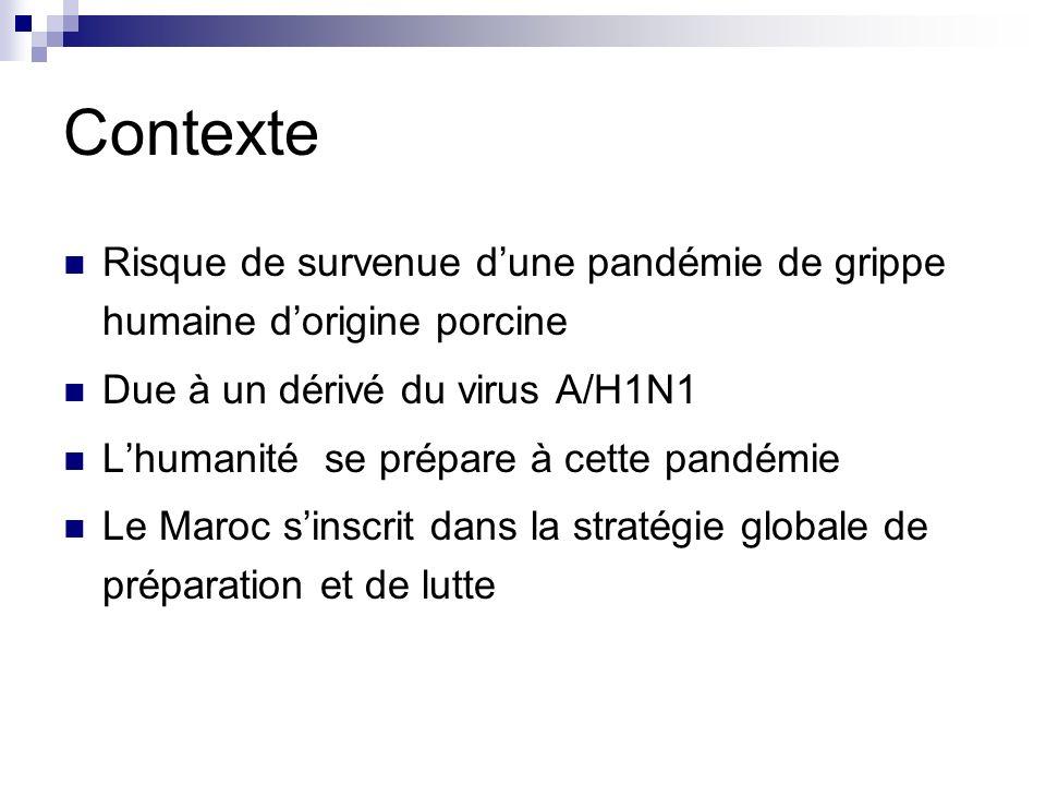 Contexte Risque de survenue dune pandémie de grippe humaine dorigine porcine Due à un dérivé du virus A/H1N1 Lhumanité se prépare à cette pandémie Le