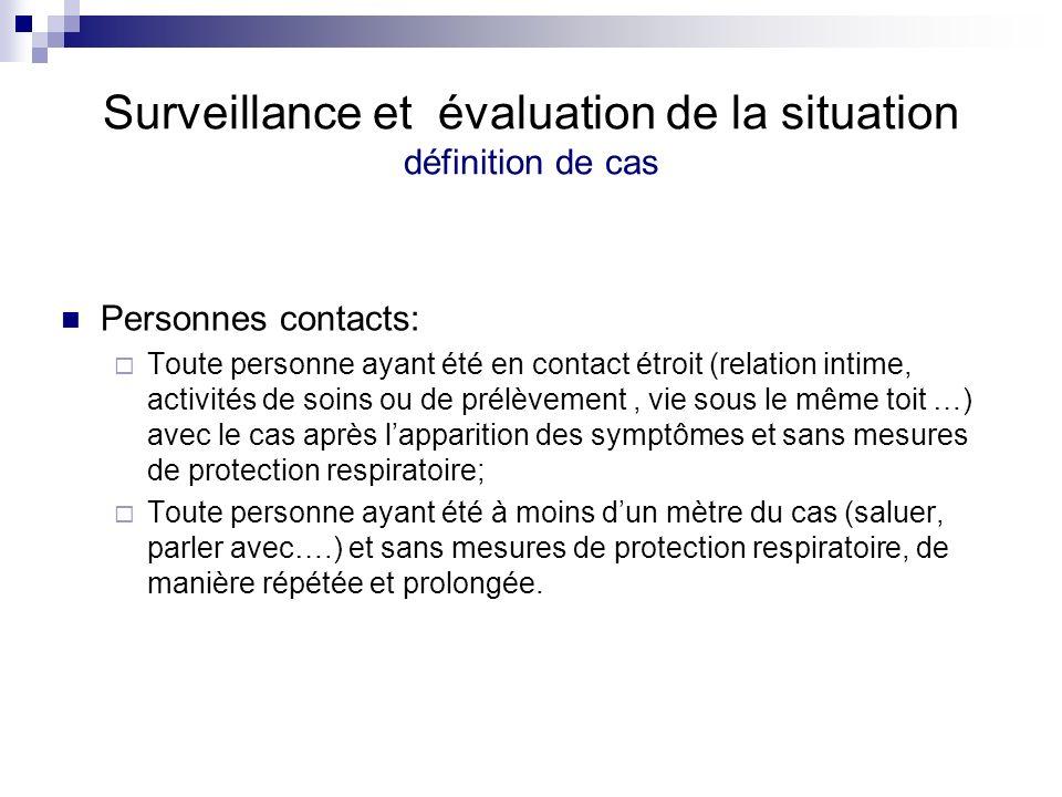 Surveillance et évaluation de la situation définition de cas Personnes contacts: Toute personne ayant été en contact étroit (relation intime, activité