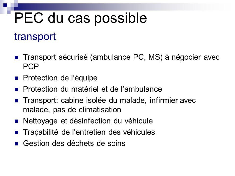PEC du cas possible transport Transport sécurisé (ambulance PC, MS) à négocier avec PCP Protection de léquipe Protection du matériel et de lambulance